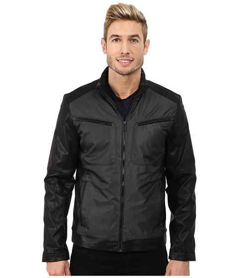Calvin Klein - Faux Leather/Yard Dye Jacket (Black) Men's Coat