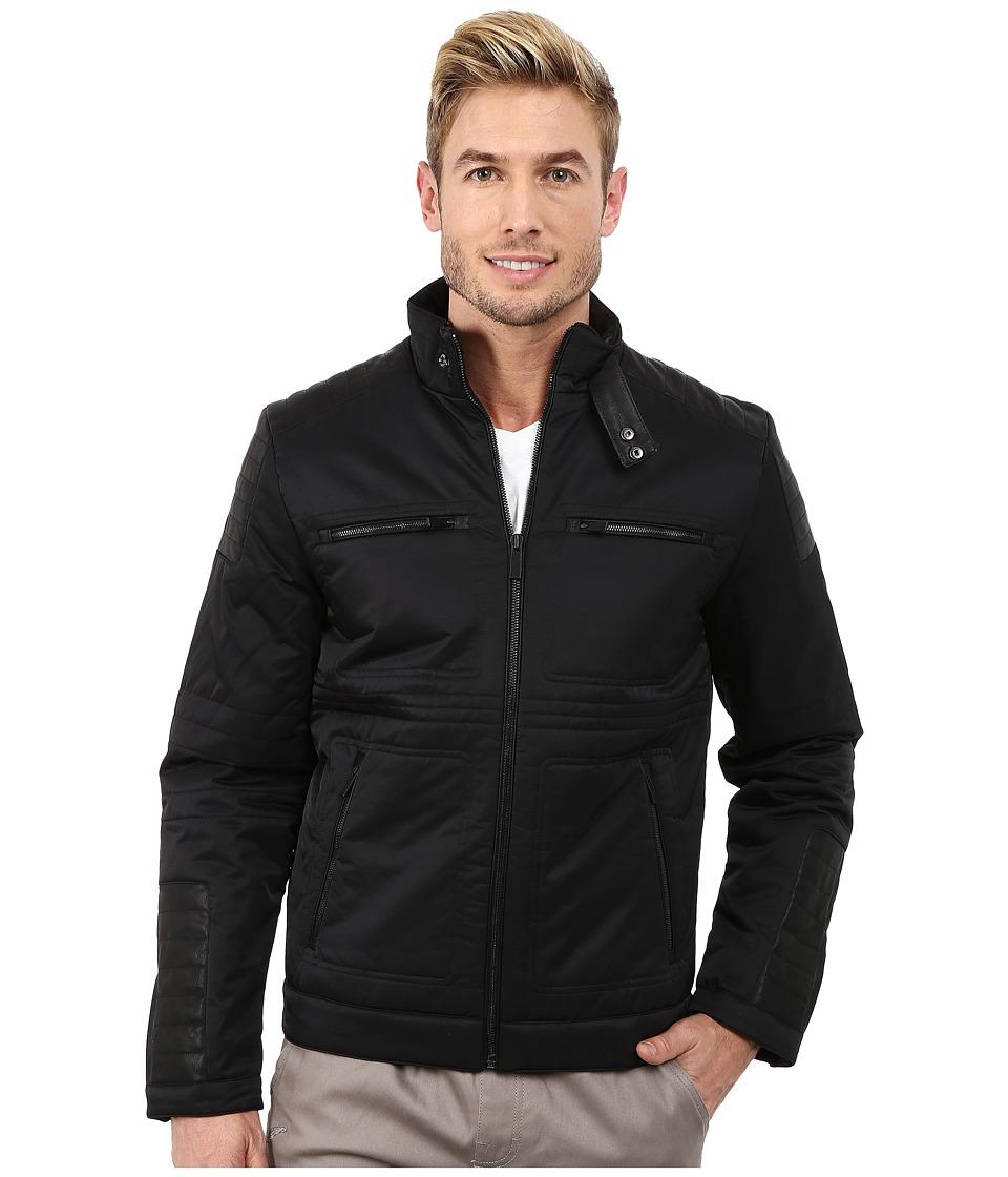 Calvin Klein Cotton Nylon Moto w/ Faux Leather Detail (Bl...