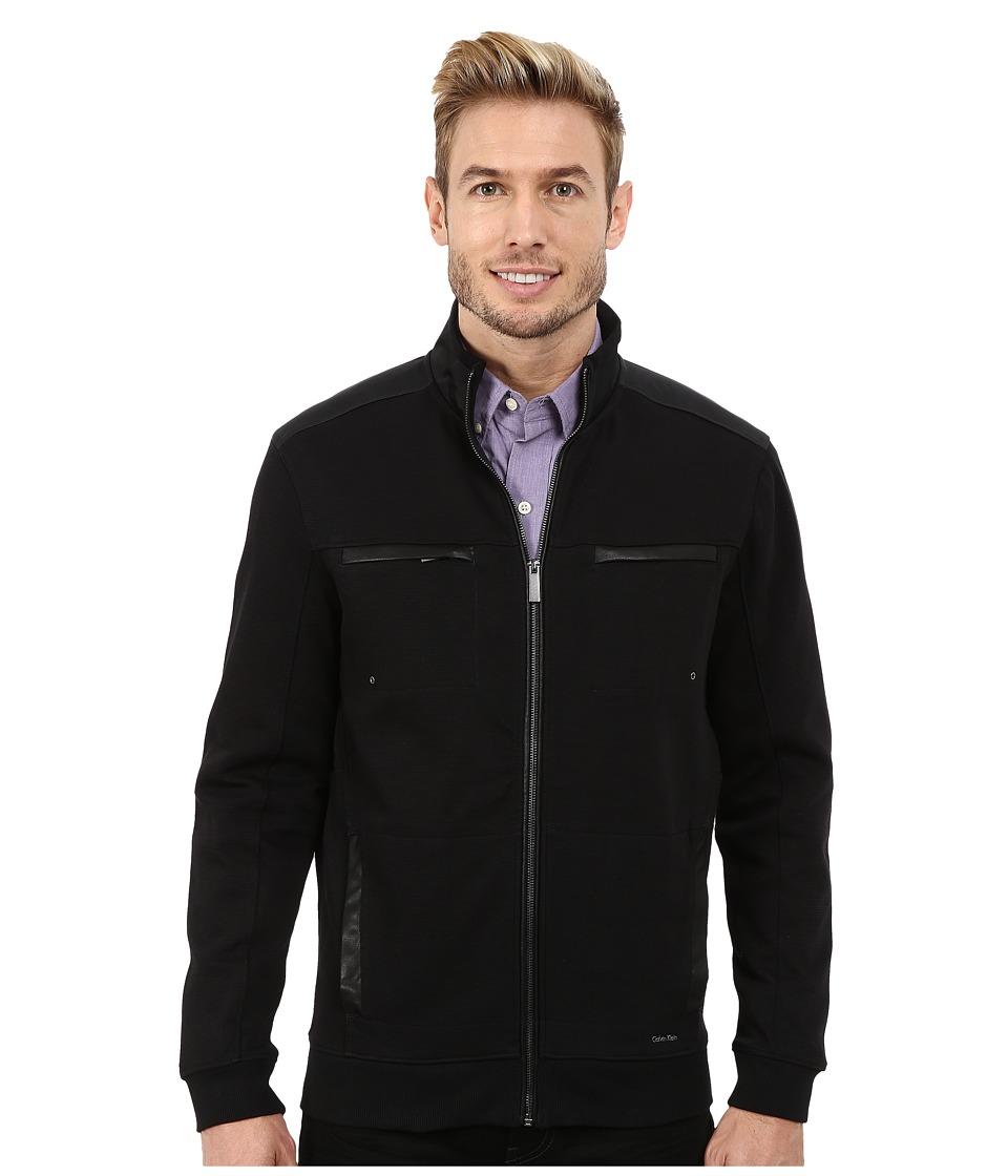 Calvin Klein - Full Zip Solid Textured Ponte Jacket (Black) Men's Coat