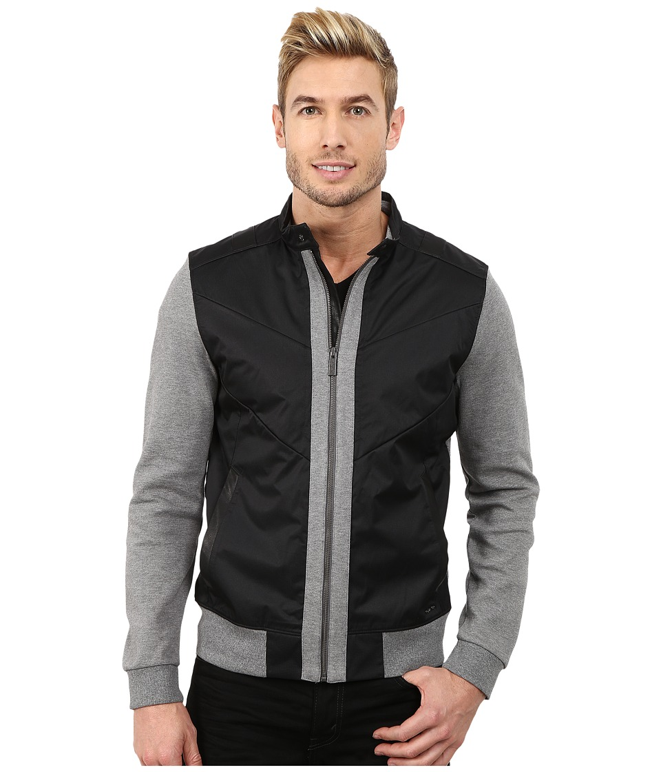 Calvin Klein - Full Zip Solid Textured Ponte Mixed Media Moto Jacket (Medium Grey Heather) Men