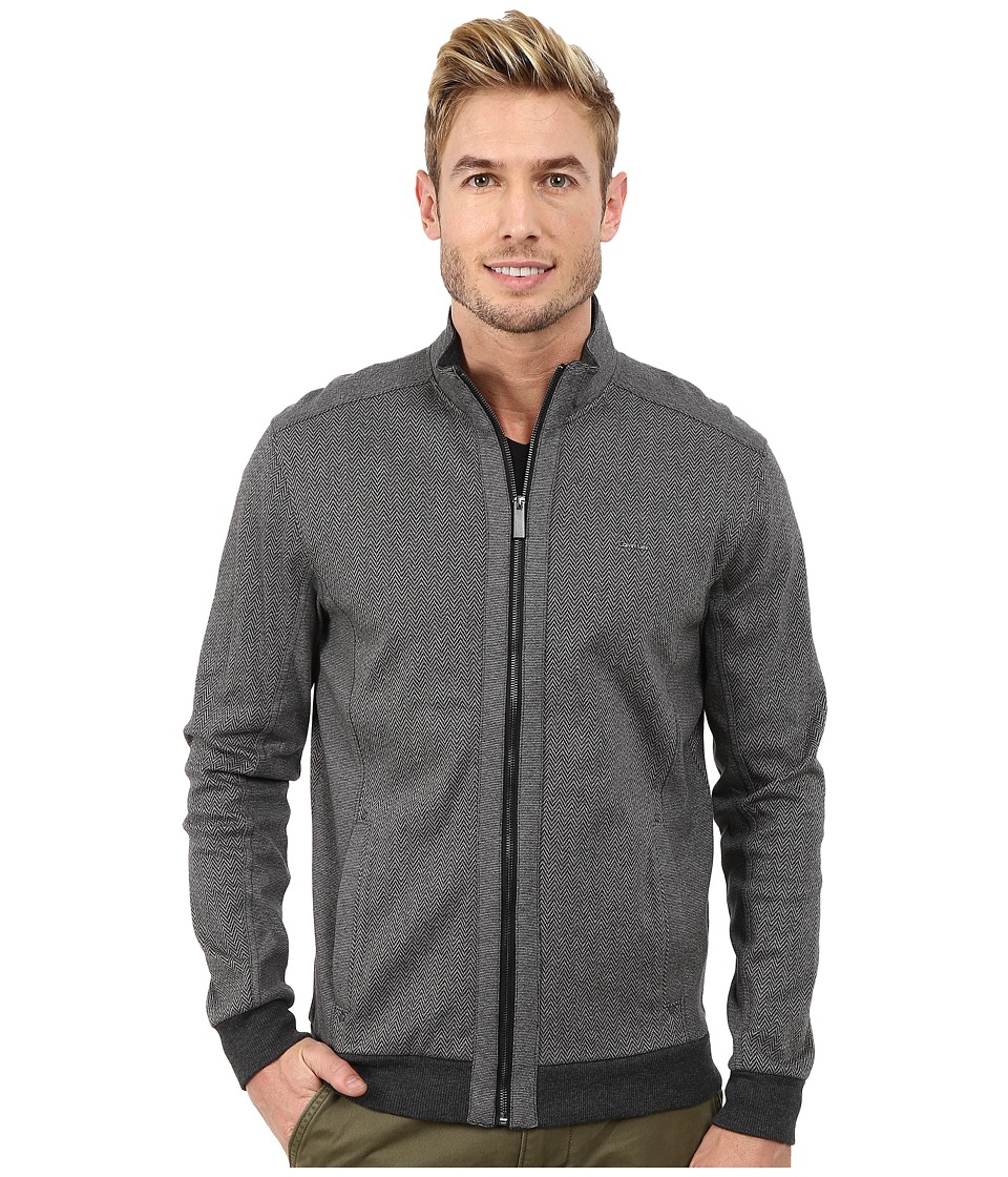 Calvin Klein - Full Zip Blocked Mock Neck Jacquard Sweatshirt (Black) Men's Sweatshirt