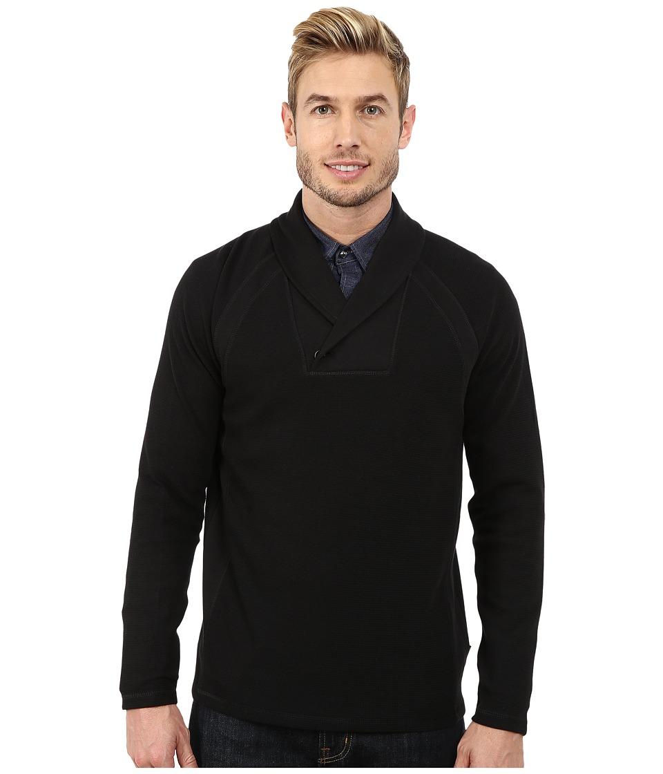 Calvin Klein - Solid Fabric Blocked Shawl Collar Sweatshirt (Black) Men