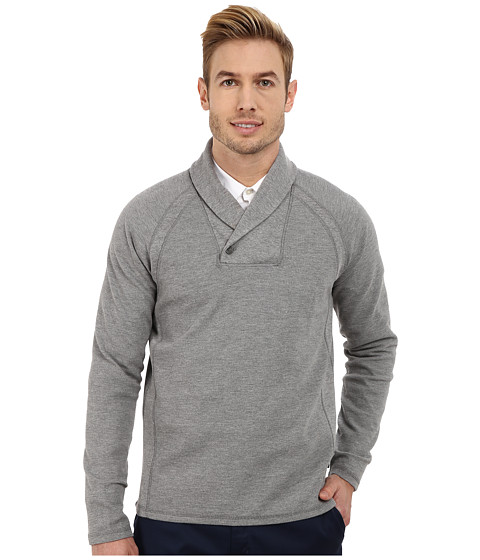 Calvin Klein - Solid Fabric Blocked Shawl Collar Sweatshirt (Medium Grey Heather) Men