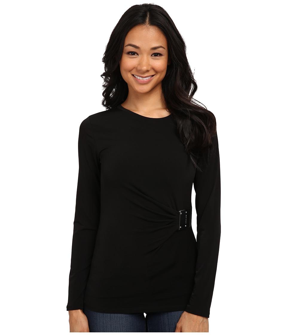 MICHAEL Michael Kors - Logo Plate Trim Matte Jersey Top (Black/Silver) Women's Long Sleeve Pullover