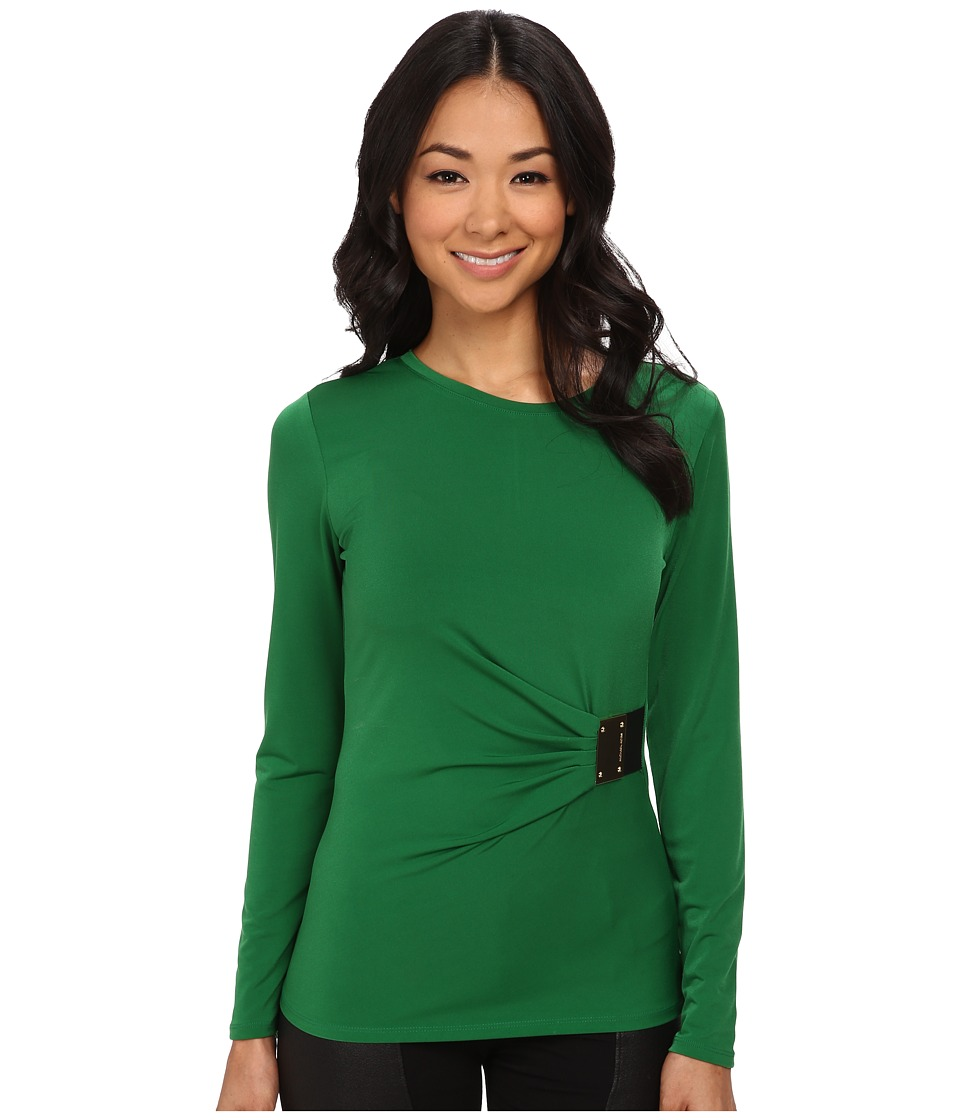 MICHAEL Michael Kors - Logo Plate Trim Matte Jersey Top (Palmetto Green) Women's Long Sleeve Pullover