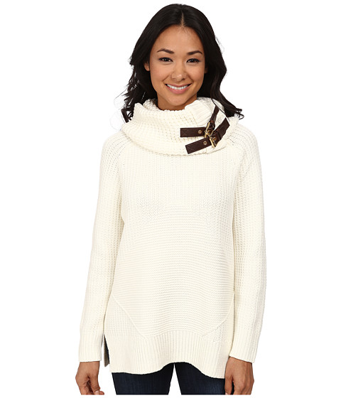 MICHAEL Michael Kors - Removeable Buckle Cowl Neck Poncho (Cream) Women