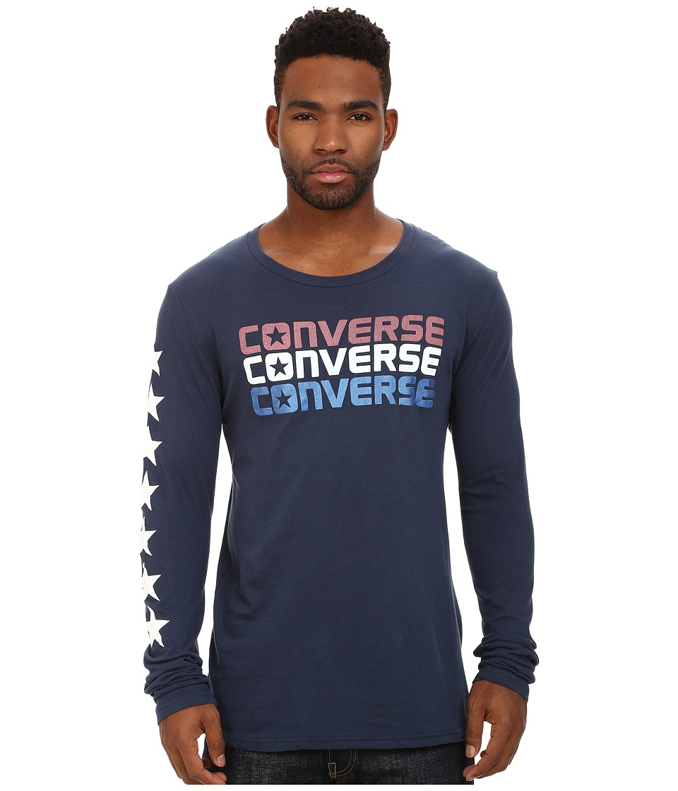 Converse - Long Sleeve Triple Reflective Tee (Navy) Men's T Shirt