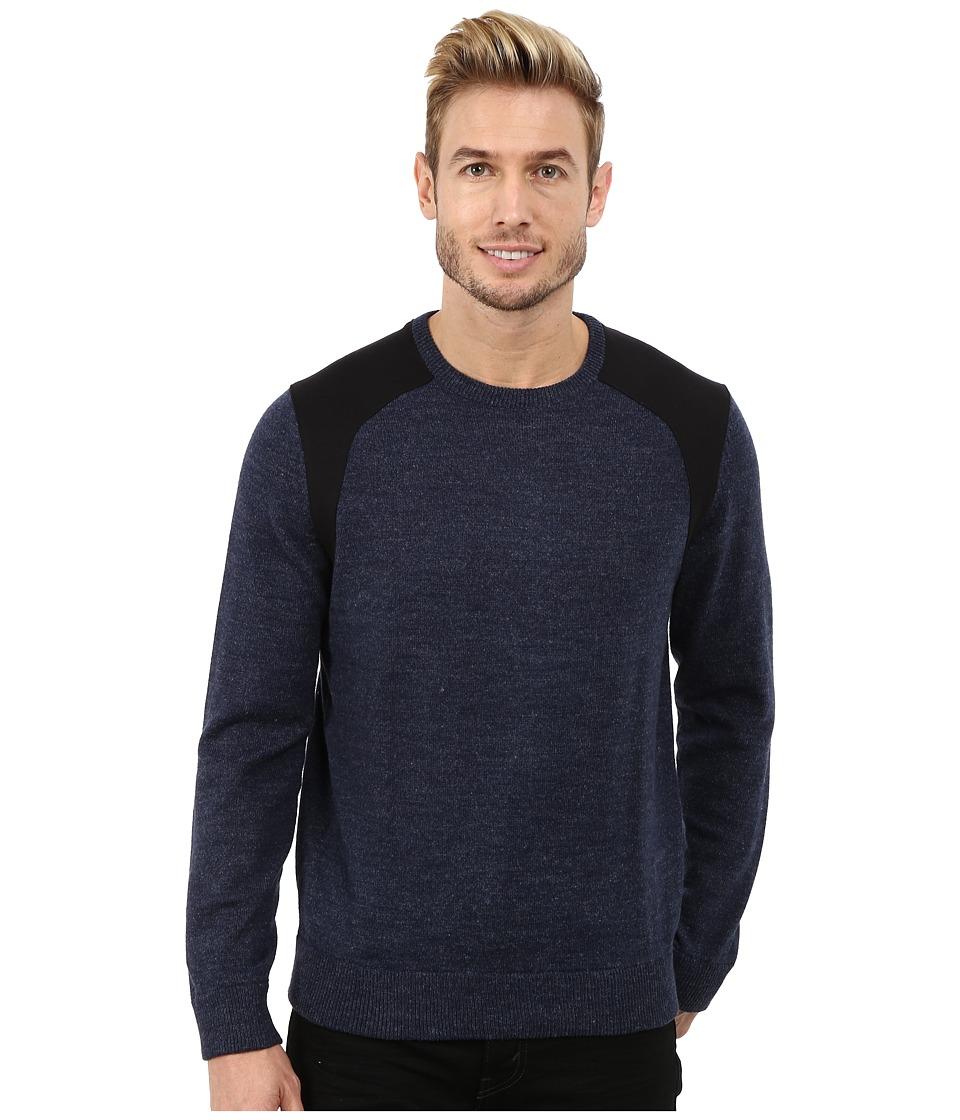 Calvin Klein - Cotton Poly Heather Ponte Crew Neck Sweater (Heather Blue) Men