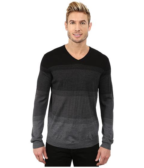 Calvin Klein - Merino Acrylic Simple Ombre Striped V-Neck Sweater (Grey Force) Men