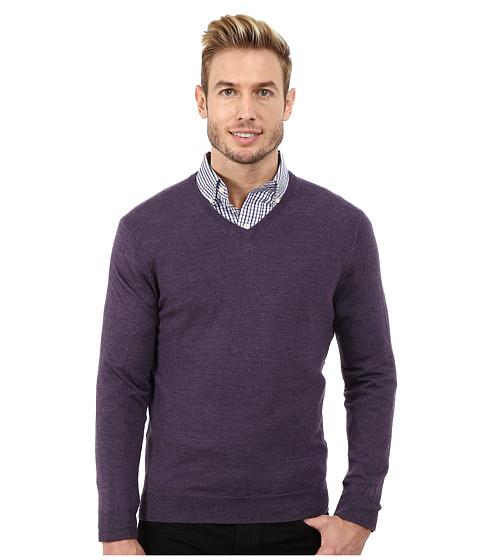 Calvin Klein - Solid Merino V-Neck Sweater (Quincy Heather) Men