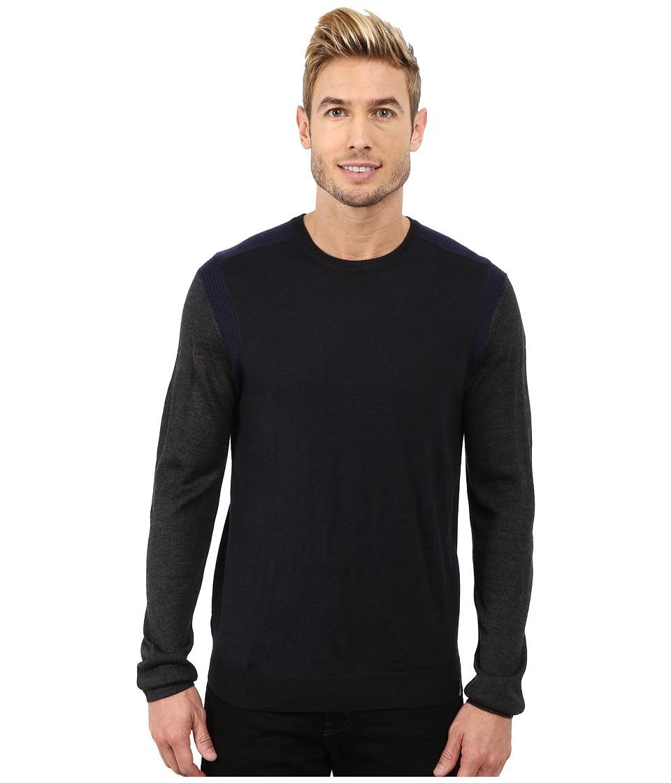 Calvin Klein - Merino Acrylic Color Block Crew Neck Sweater w/ Rib Detail (Lake Como) Men