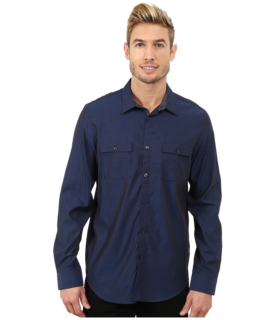 Calvin Klein - Liquid Cotton Woven Shirt (Officer Navy) Men's Clothing