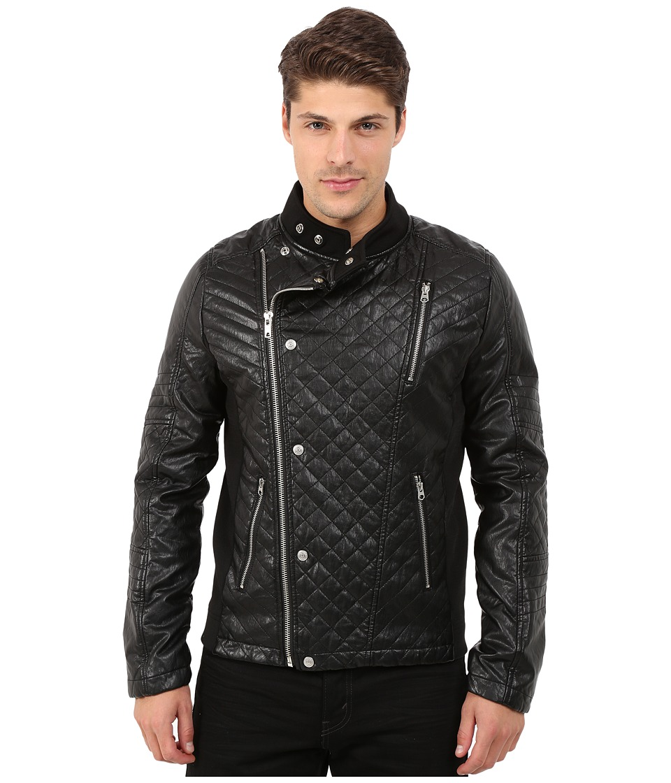 Members Only - Faux Leather Quilted Motocross Jacket (Black) Men's Coat