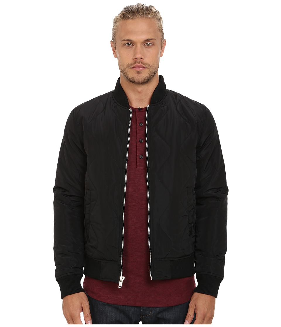 Members Only - Quilted Zip Front Bomber Jacket (Black) Men's Coat