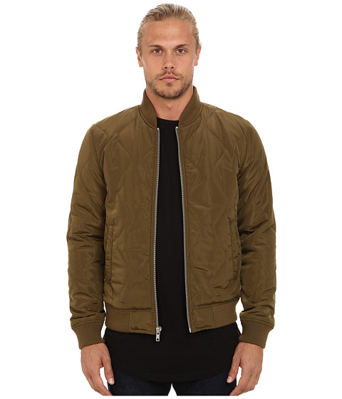 Members Only - Quilted Zip Front Bomber Jacket (Fatigue) Men's Coat