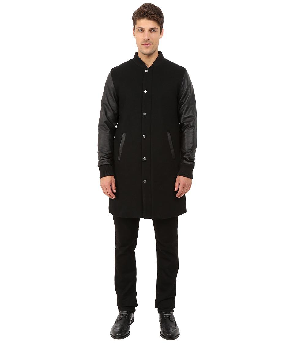 Members Only - Top Coat Length Varsity Jacket w/ Faux Leather Sleeves (Black) Men