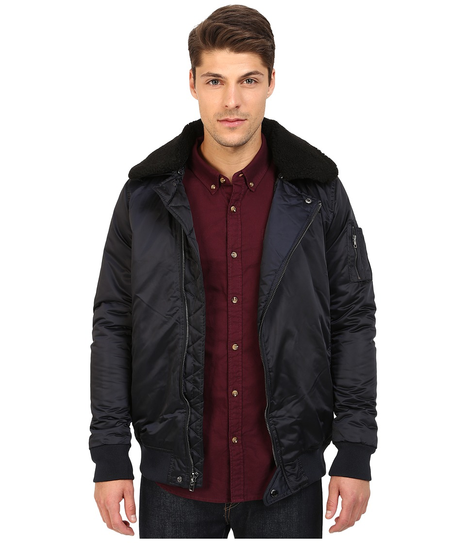 Members Only - Long Length Asymmetrical AF Bomber w/ Detachable Faux Fur Collar (Air Force) Men's Coat