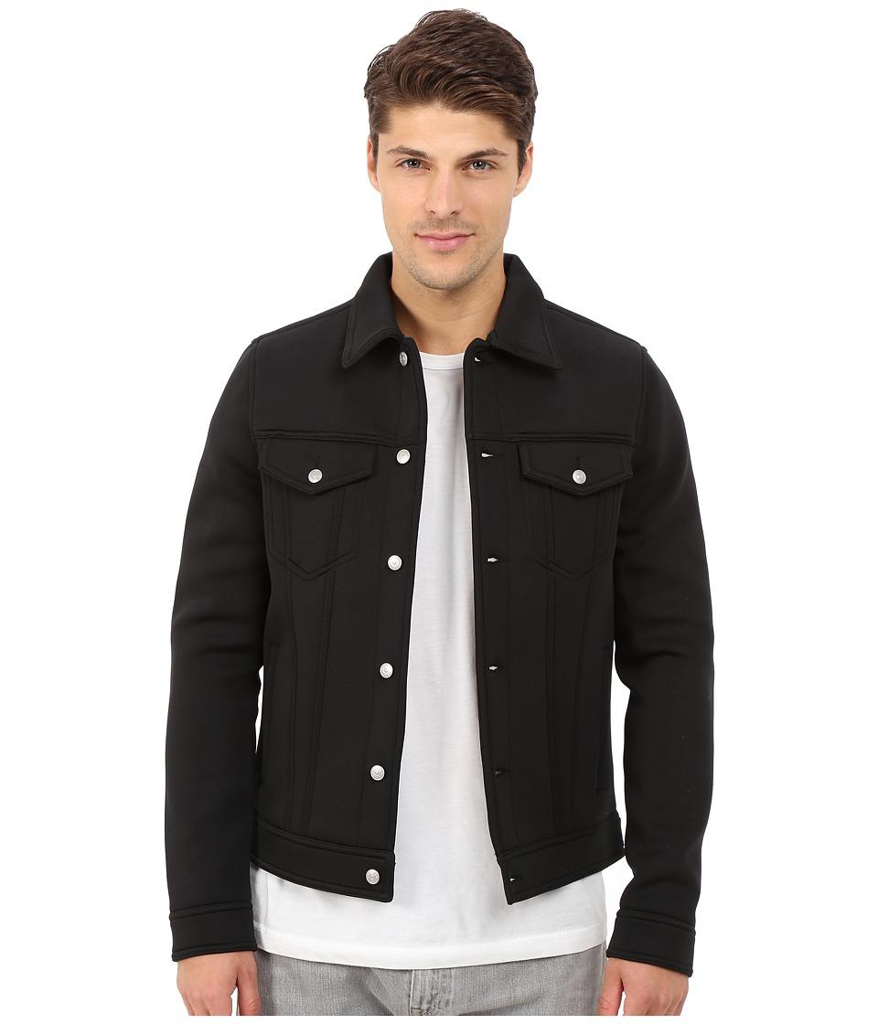 Members Only - Stretch Neoprene Trucker Jacket (Black) Men's Coat