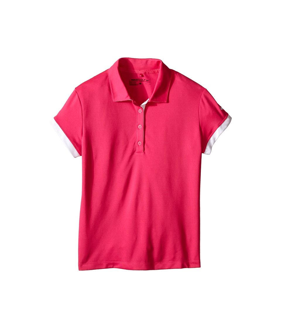 Nike Kids - Victory Polo (Little Kids/Big Kids) (Vivid Pink/White/White) Girl's Short Sleeve Knit