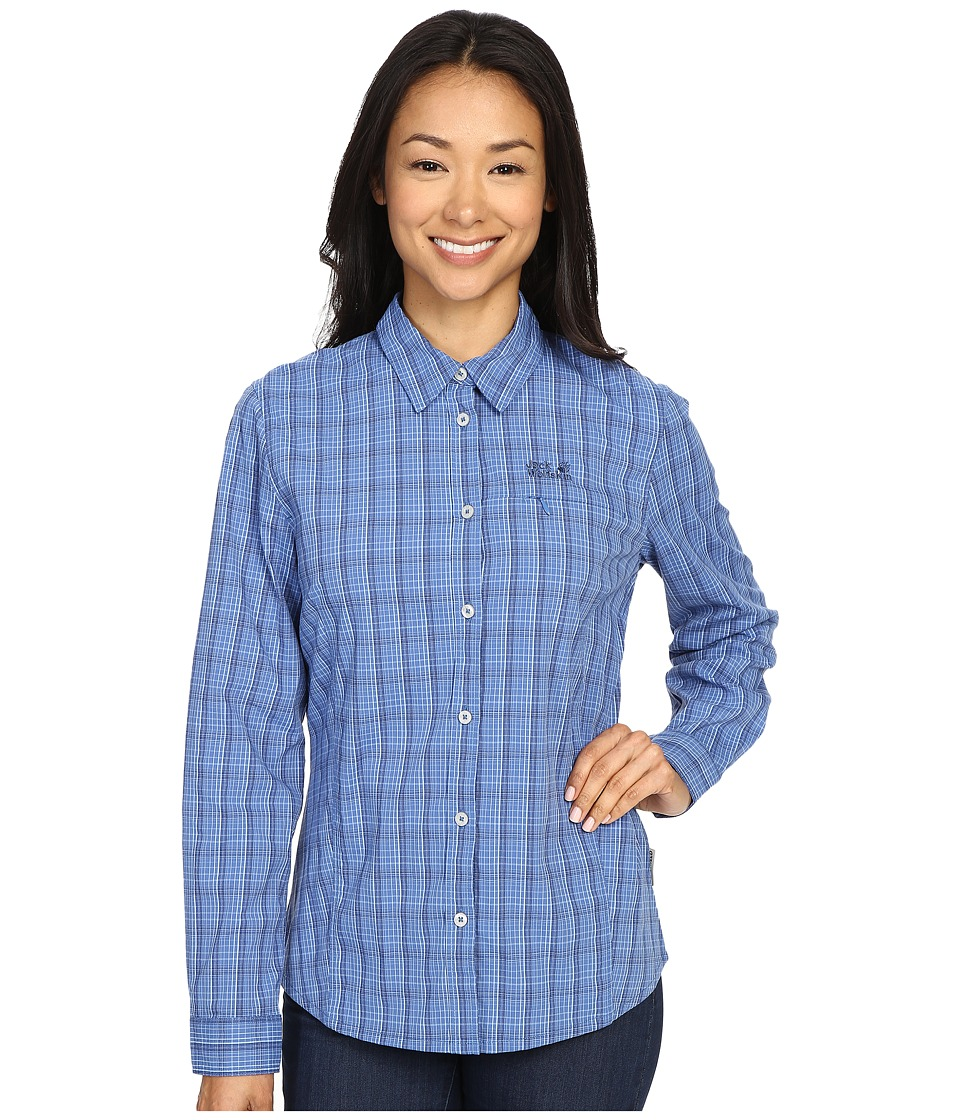 Jack Wolfskin - Centaura Flex Shirt (Peacock Blue Checks) Women's Clothing