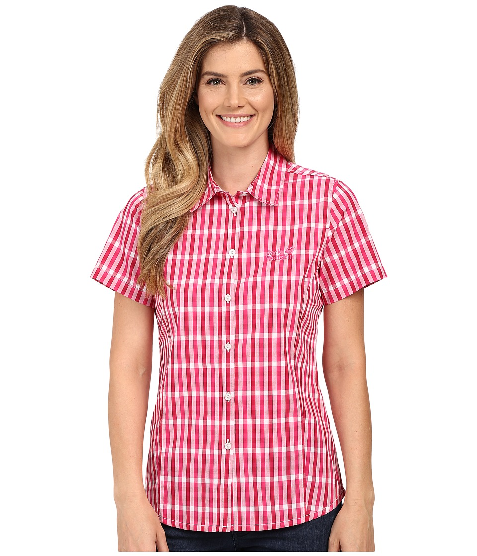 Jack Wolfskin - River Shirt (Pink Raspberry Checks) Women's Clothing