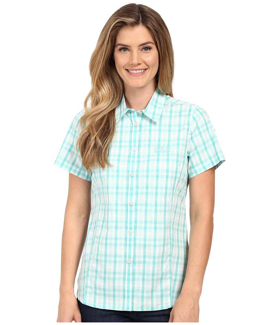 Jack Wolfskin - River Shirt (Pool Blue Checks) Women's Clothing