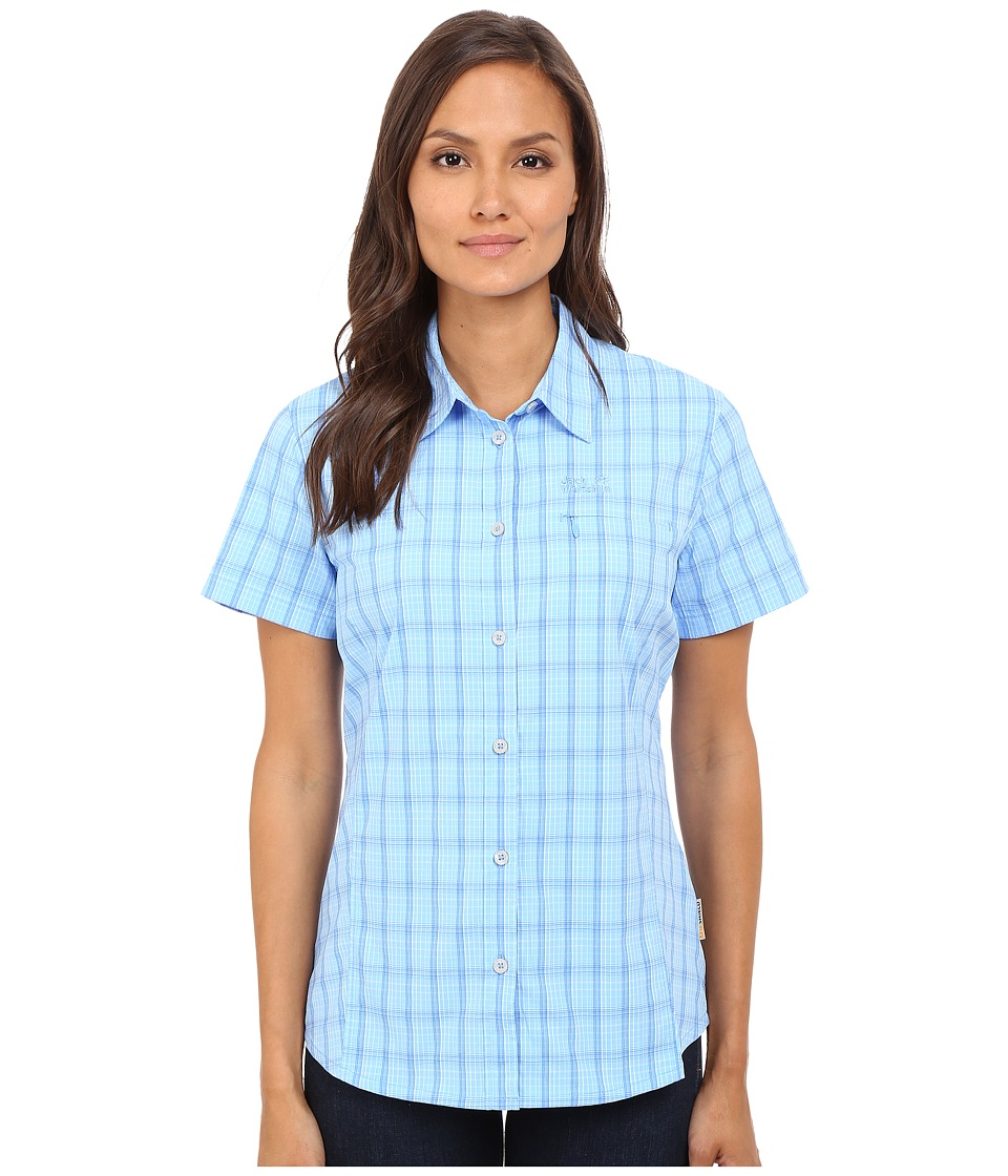 Jack Wolfskin - Centaura Stretch Vent Shirt (Air Blue Checks) Women's Clothing