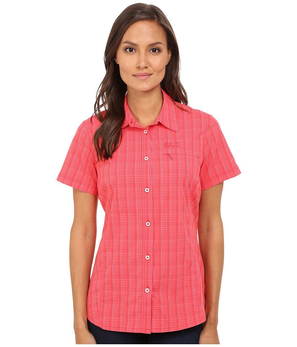 Jack Wolfskin - Centaura Stretch Vent Shirt (Hibiscus Red Checks) Women's Clothing
