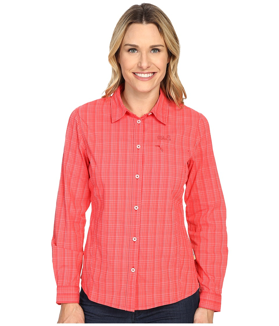 Jack Wolfskin - Centaura Flex Shirt (Hibiscus Red Checks) Women's Clothing