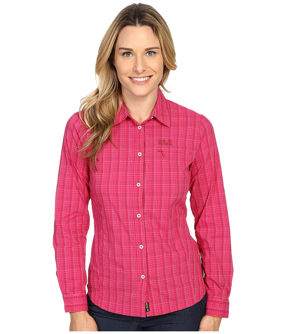 Jack Wolfskin - Centaura Flex Shirt (Azalea Red Checks) Women's Clothing