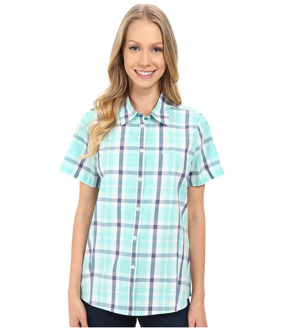 Jack Wolfskin - Aoraki Shirt (Pool Blue Checks) Women's Clothing