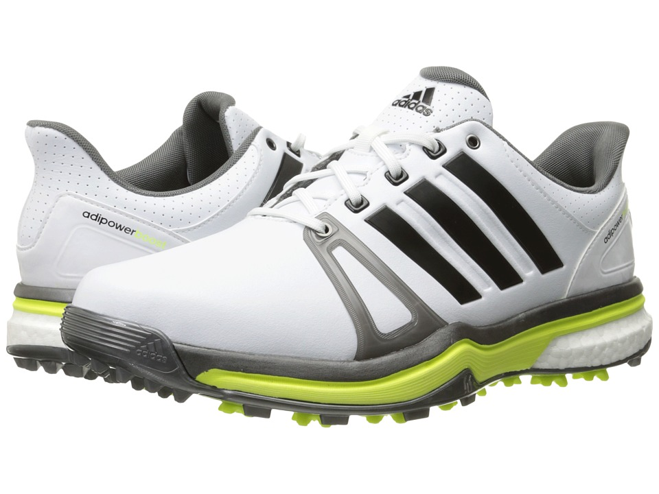 adidas Golf - Adipower Boost 2 (Ftwr White/Dark Silver Metallic/Solar Yellow) Men's Golf Shoes