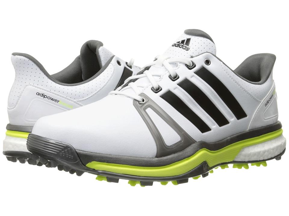 adidas Golf - Adipower Boost 2 (Ftwr White/Dark Silver Metallic/Solar Yellow) Men's Golf Shoes
