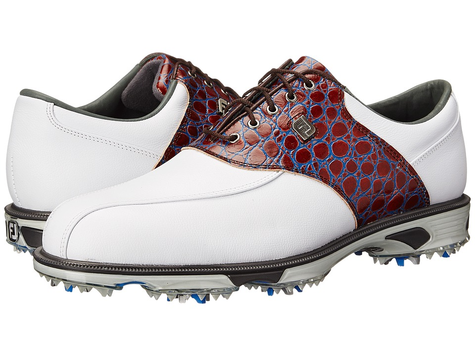 FootJoy - DryJoys Tour (White/Brown Croc) Men's Golf Shoes