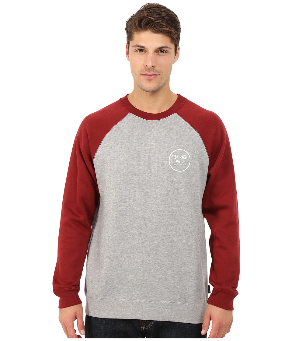 Brixton - Wheeler Crew Fleece (Heather Grey/Burgundy) Men's Sweatshirt