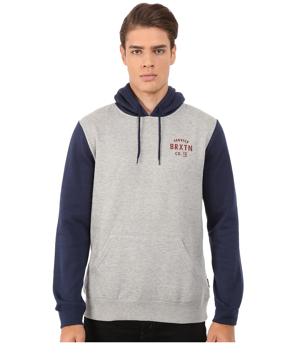 Brixton - Eaton Hooded Fleece (Heather Grey/Navy) Men's Sweatshirt
