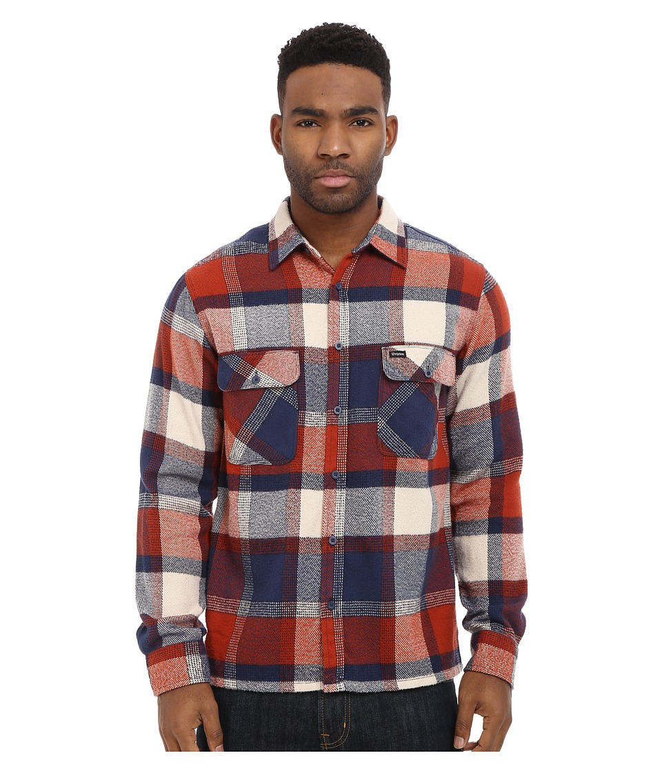 Brixton - Archie Long Sleeve Flannel (Rust/Navy) Men's Long Sleeve Button Up