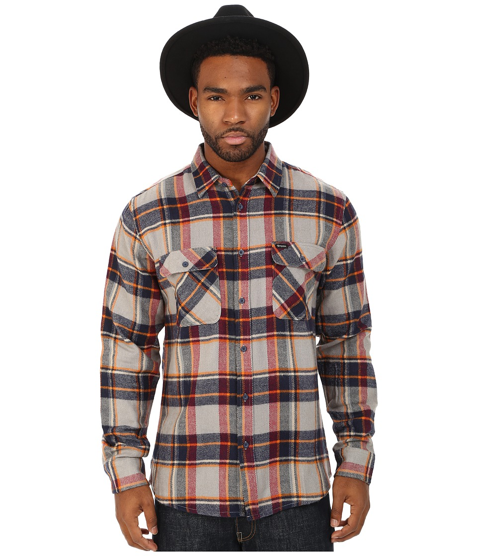 Brixton - Bowery Long Sleeve Flannel (Light Blue/Navy) Men's Long Sleeve Button Up