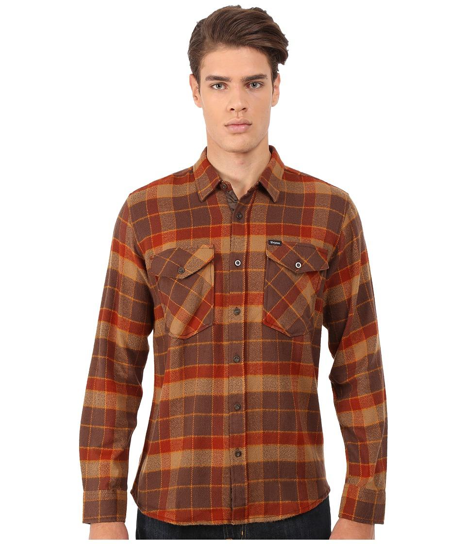 Brixton - Weldon Long Sleeve Flannel (Brown/Rust) Men's Long Sleeve Button Up