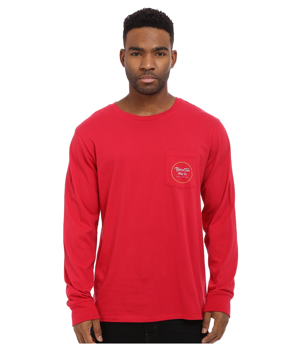Brixton - Wheeler Long Sleeve Pocket Tee (Red) Men's T Shirt