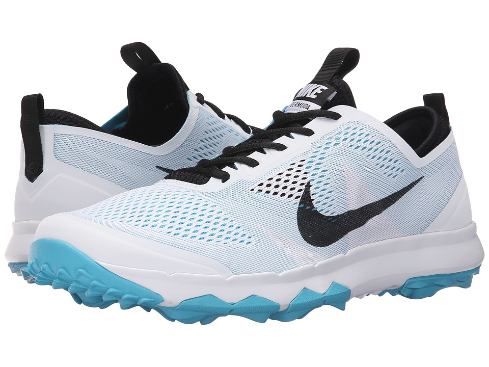 Nike Golf - FI Bermuda (White/Black/Omega Blue) Men's Golf Shoes