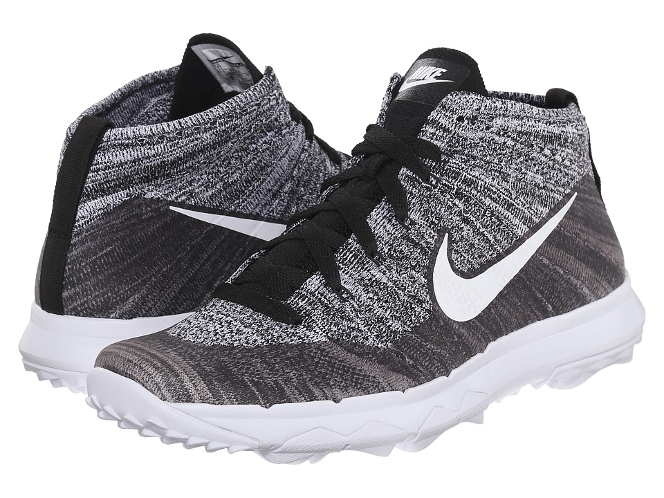 Nike Golf - FI Flyknit Chukka (Black/White) Men's Golf Shoes