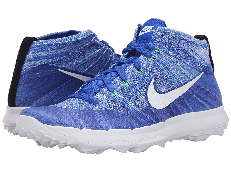 Nike Golf - FI Flyknit Chukka (Racer Blue/White University Blue/Green Street) Men's Golf Shoes