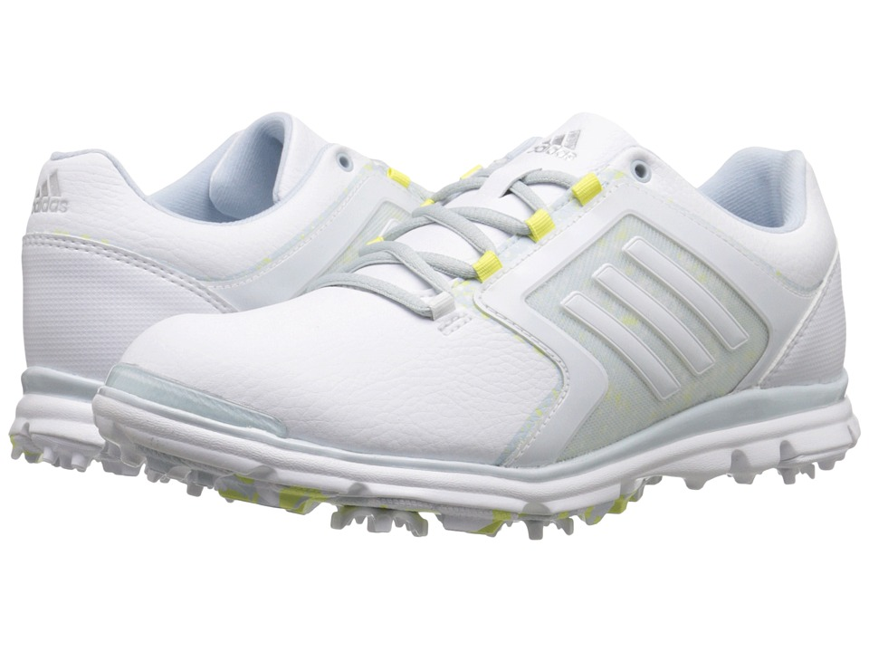 adidas Golf - Adistar Tour (Ftwr White/Soft Blue-Tmag/Sunny Lime-Tmag) Women's Golf Shoes