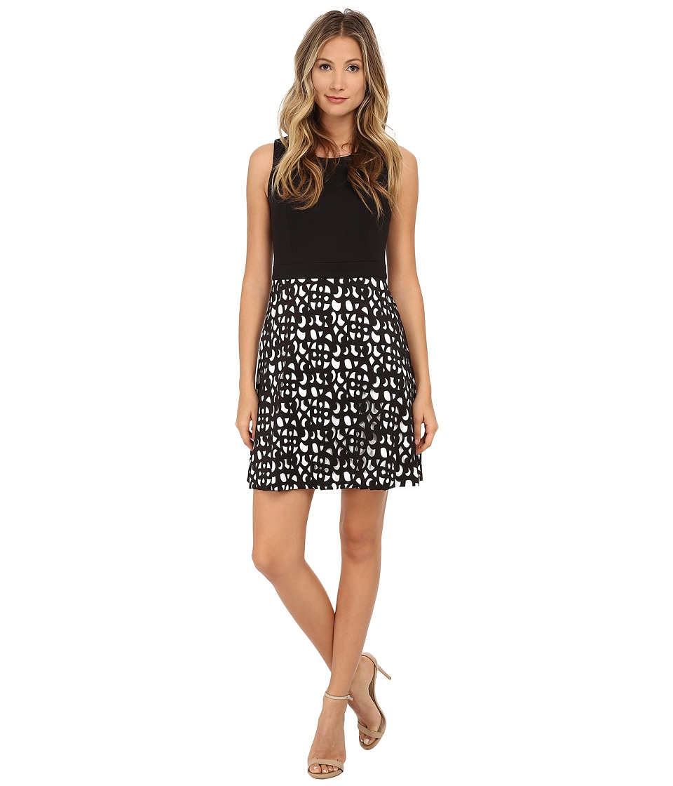Jessica Simpson - Scuba Fit and Flare with Laser Cut Details (Black) Women's Dress
