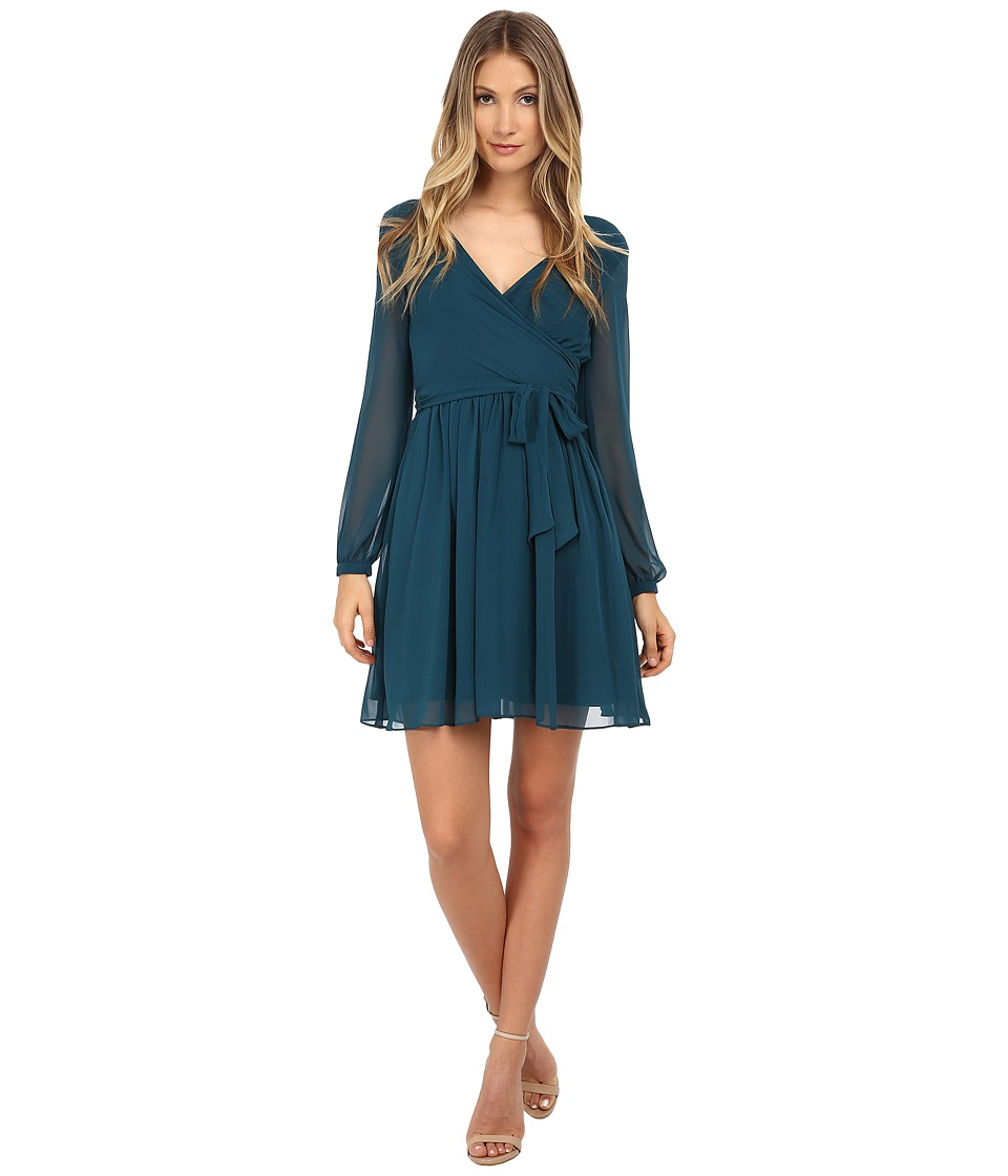 Jessica Simpson - Chiffon Long Sleeve Wrap Dress (Pine) Women's Dress