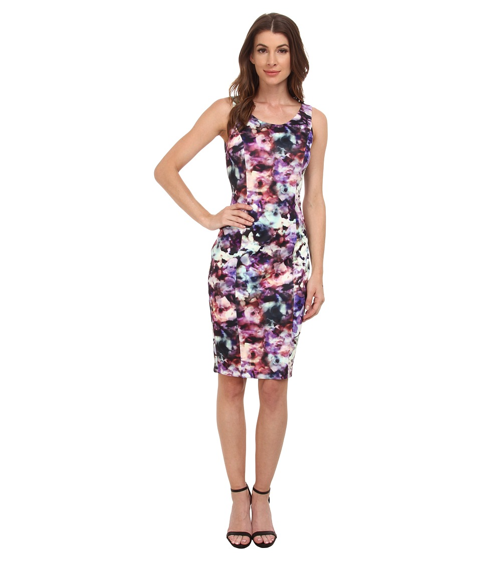 Jessica Simpson - Abstract Floral Print Midi (Print) Women's Dress