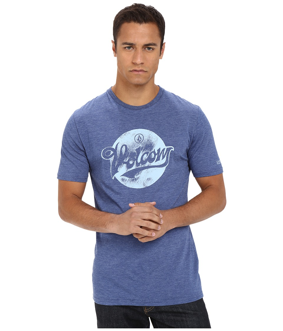 Volcom - Script Dot Short Sleeve UV Surf Shirt (Matured Blue) Men's Short Sleeve Pullover