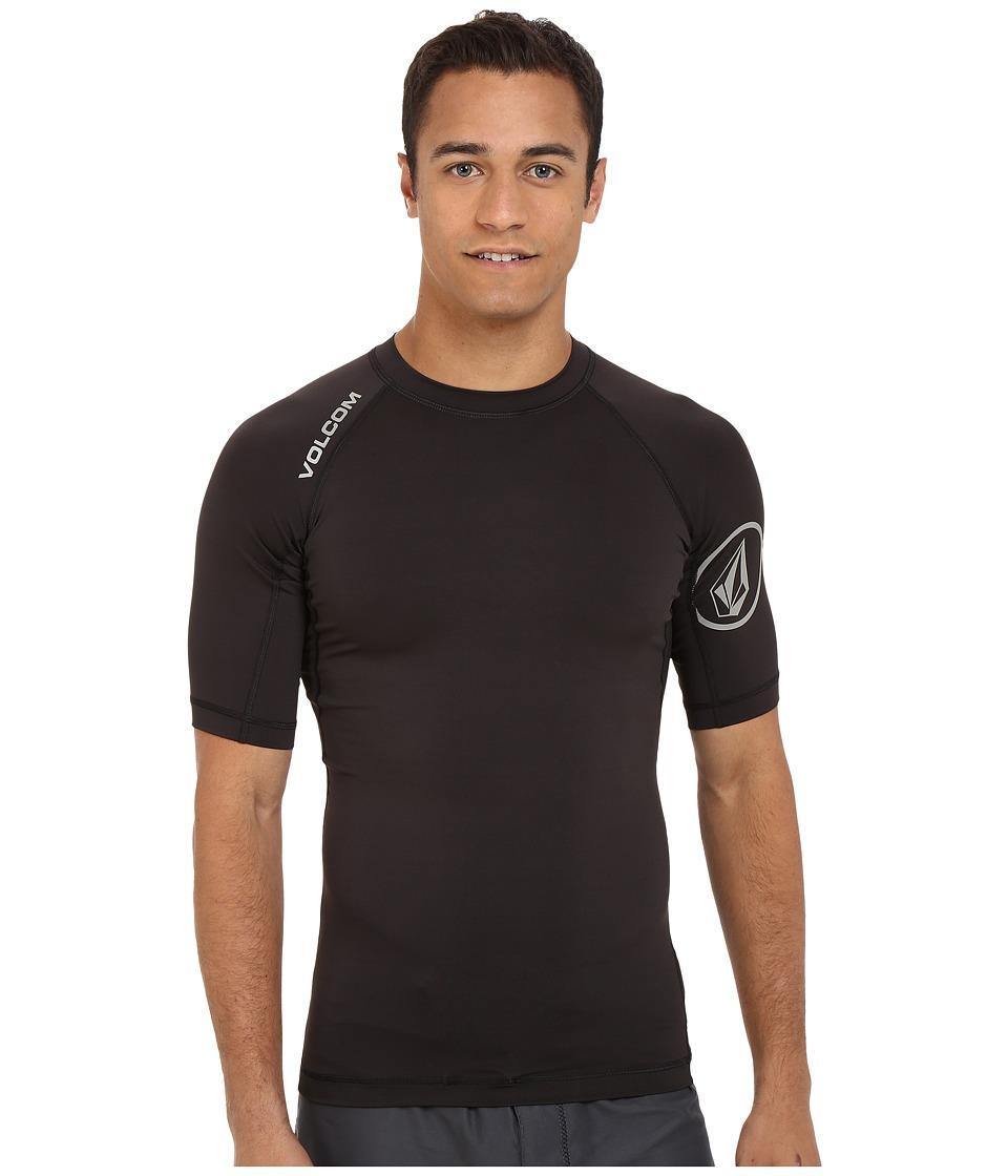 Volcom - Solid Short Sleeve Rashguard (Black) Men's Swimwear