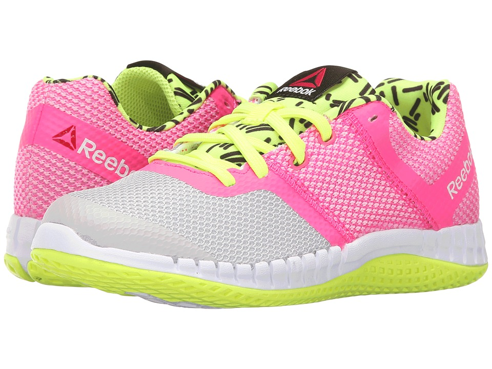 Reebok Kids - Zprint Run GR (Little Kid) (Steel/Solar Yellow/Solar Pink/Black/White) Kid's Shoes